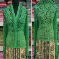 Brokat Brukat Bahan Kain Kebaya Batik Dress Gaun Gamis Couple Hijau P1
