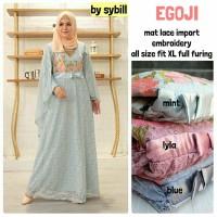 Long Dress Maxi Wanita Muslim brokat lace impor cape egoji full furing