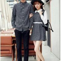 Baju dress couple pasangan kompak kembar kotak kotak lengan panjang