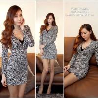 Jual T7JIOB dress motif dress leopard dress midi bodycon dress pesta sexy Murah