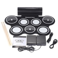 Portable Roll Up Drum Pad Set Kit with Built-in Speaker (No CD)
