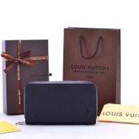 Dompet Clutch LV Louis Vuitton Zippy XL Taiga Leather Hitam KULIT ORI