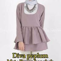 Jual [Diva Peplum SW] dress wanita rayon bangkok warna mocca Murah