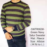Sweater Fashion Cowok Modis Model Casual Keren Green Navy Salur - 658