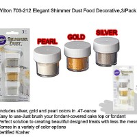 Edible Shimmer Dust - Wilton GOLD SILVER PEARL. 1 SET ISI 3 READY FOOD