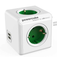 Stop Kontak Steker Listrik Allocacoc Powercube Extended USB 1,5m Green