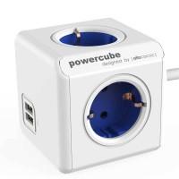 Stop Kontak Steker Listrik Allocacoc Powercube Extended USB 1,5m Blue