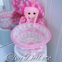 Jual Boneka Keranjang Rotan Shabby Chic Pink Lucu, Imut, Murah Murah