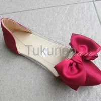 Jual Sepatu Wanita Cewek Flat Mika Bowtie Merah Murah