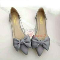 Jual Sepatu Wanita Cewek Flat Mika Bowtie Abu Murah