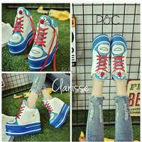 Jual Sepatu Wanita Cewek Wedges Boot Doraemon Replika Wedges Sneakers KND Murah