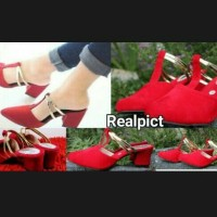 AGS277 REALPICT SANDAL SELOP HIGH HEELS MERAH MODEL ZARA# RED GOLD