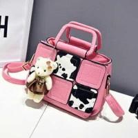 tas kerja kantor wanita cow kotak chloe Batam import bag murah pink