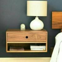Jual rak laci melayang floating shelf meja samping nightstand ambalan Murah