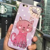 Oppo A39 A57 Flamingo Glitter Liquid Soft Back Case Casing Cover