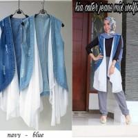 baju cardigan kia outer jeans cmna |baju hangat |fashion wanita