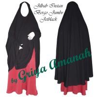 Jual Jilbab syari instan jumbo Jetblack Murah