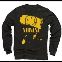 Jual Kaos Band Musik Nirvana ,Distro Baju Pria Wanita Kemeja,Lengan Panjang Murah