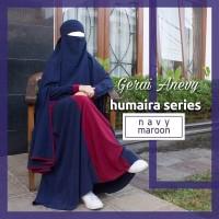 Jual Gamis Syar'i Set Khimar + Niqob (Humaira Series Navy Maroon) Murah