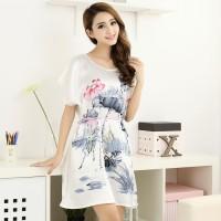 Harga dress piyama baju tidur wanita baby doll motif bunga murah | antitipu.com