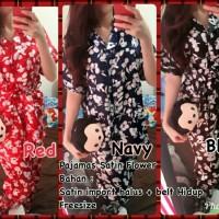 Harga pajamas satin flower 87 000 bahan satin halus import fit l belt | antitipu.com