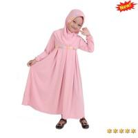 Jual Baju Muslim Gamis Anak Perempuan Murah Lucu Simple - Peach