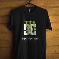 Kaos Monster Energy DC Shoes T-Shirt Baju Sablon Hitam Lengan Pendek