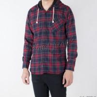 Jual kemeja pria flanel / flannel hoddie / kupluk model jaket sweater FHO02 Murah