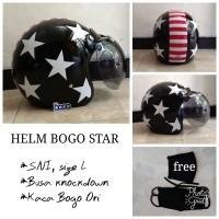 Helm Bogo Retro Motif Star kaca Bogo Original, Helm Ukuran L