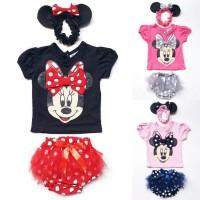 Jual Baju Setelan Anak Bayi Perempuan Minnie Mouse Celana Tutu Bandana Murah