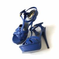 Ready GOOD DEAL! NEW YSL Tribute 14 cm Blue Electric Grained leather