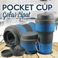 Jual Gelas Lipat Portable Pocket Cup Gelas Travel Multifungsi bisa Gantung Murah
