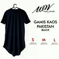 Baju Koko Gamis Kaos Pakistan Cowok Laki Pria Hitam Size S M L