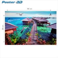 Poster 3D PEMANDANGAN PANTAI RESORT #3D208 - 38 x 58 cm