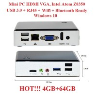Mini PC HDMI VGA Intel Atom 4GB 4/64GB Win10 Wintel NUC MiniPC