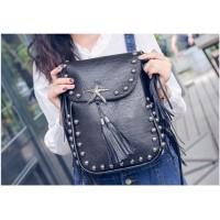 Tas Wanita Import J19948 Black Sling Bag Fringe Rumbai Star Korea H&M