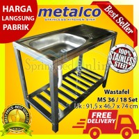 Wastafel/Bak Cuci Piring Metalco MS 36 / 18 Set Portable Stainless
