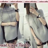 Jual blouse cape turtle abu Grosir Kekinian Import Murah Murah