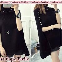 Jual blouse cape turtle hitam Grosir Kekinian Import Murah Murah