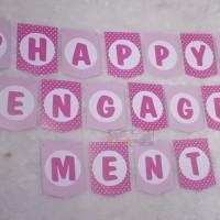 Banner Happy Engagement Bunting Flag acara Pertunangan Lamaran pink
