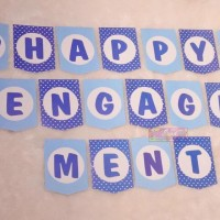 Banner Happy Engagement Bunting Flag Pertunangan Lamaran Biru