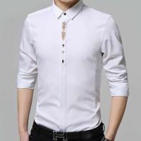 Jual new kemeja pria murah kasual katun stretch putih adam white laris Murah