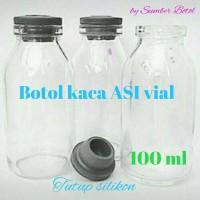 Jual Botol Kaca ASI ASIP 100ml vial lengkap dengan tutup silikon Murah