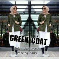 Jual Atasan Blouse Tunik Wanita Baju Muslim Green Coat Original Murah