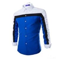 Jual [Robin Blue White AK] kemeja pria katun stretch biru combi putih Murah