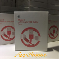 Jual iPhone 7 Red Cable 1M USB DATA LIGHTNING CABLE iOS 10 FULL RED Murah