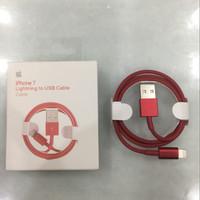 Jual APPLE ORIGINAL 1M USB DATA LIGHTNING CABLE iPhone 7 iOS 10 FULL RED Murah