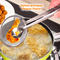 Jual (Sale) Jepitan Gorengan Dengan Tirisan Minyak 2 in 1 stainless steel t Murah