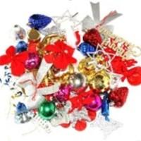Jual accessories dekorasi hiasan pohon natal set ornamen bola kado pita Murah