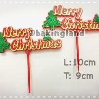 Jual hiasan kue natal merry christmas pohon (HC) Murah
